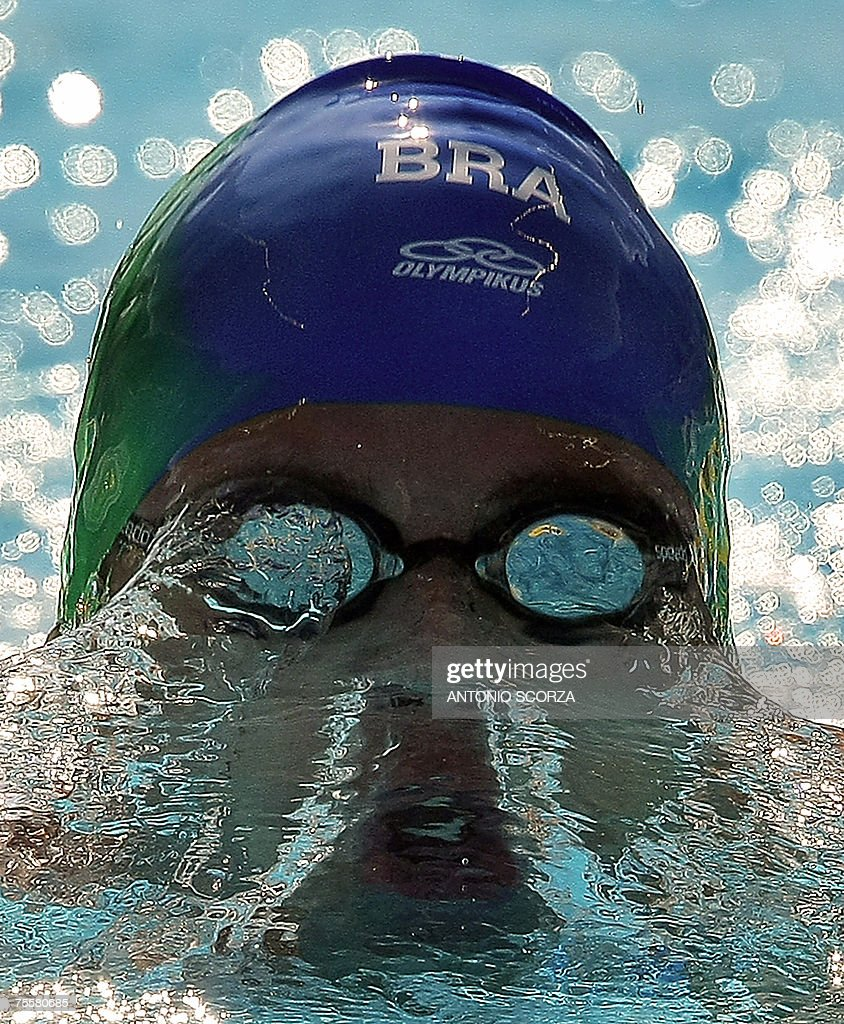 Brazilian Thiago Pereira competes in the 200m medley on July, 20th, 2007 in the Pan American Games in Rio de Janeiro. Pereira clocked 1:57.79 and setting a new Pan Am record.