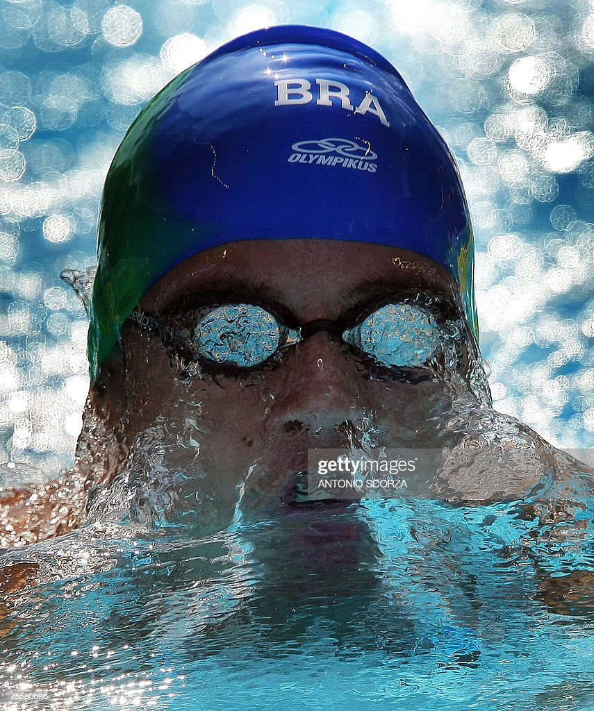 Brazilian Thiago Pereira competes in the 200m medley on Julyu, 20th, 2007 in the Pan American Games in Rio de Janeiro. Pereira clocked 1:57.79 and setting a new Pan Am record.