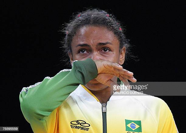 Brazil's Erika Miranda cries during the award ceremony after losing against Cuba's Sheila Espinosa in the women Judo 52kg competition 22 July 2007...