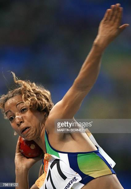 Brazil's Lucimara Silva competes in the shot put heptathlon women at the XV Pan American Games 2007 in Rio de Janeiro Brazil 24 July 2007 AFP...