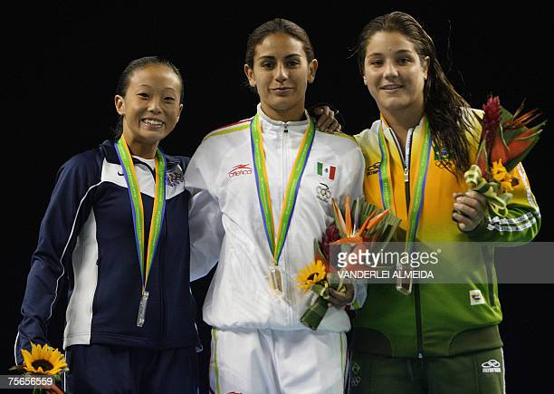 Mexican Paola Espinosa US Haley Ishimatsu and Brazilian Juliana Veloso show their medals in Women 10mts Platform at the XV Pan American Games 2007 in...