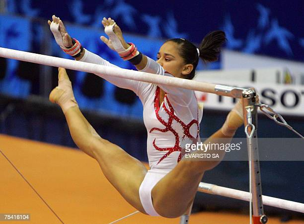 Mexico's gymnast Maricela Cantu Mata executes her routine in the bars during the XV Pan American Games Rio 2007 in Rio de Janeiro Brazil 14 July 2007...