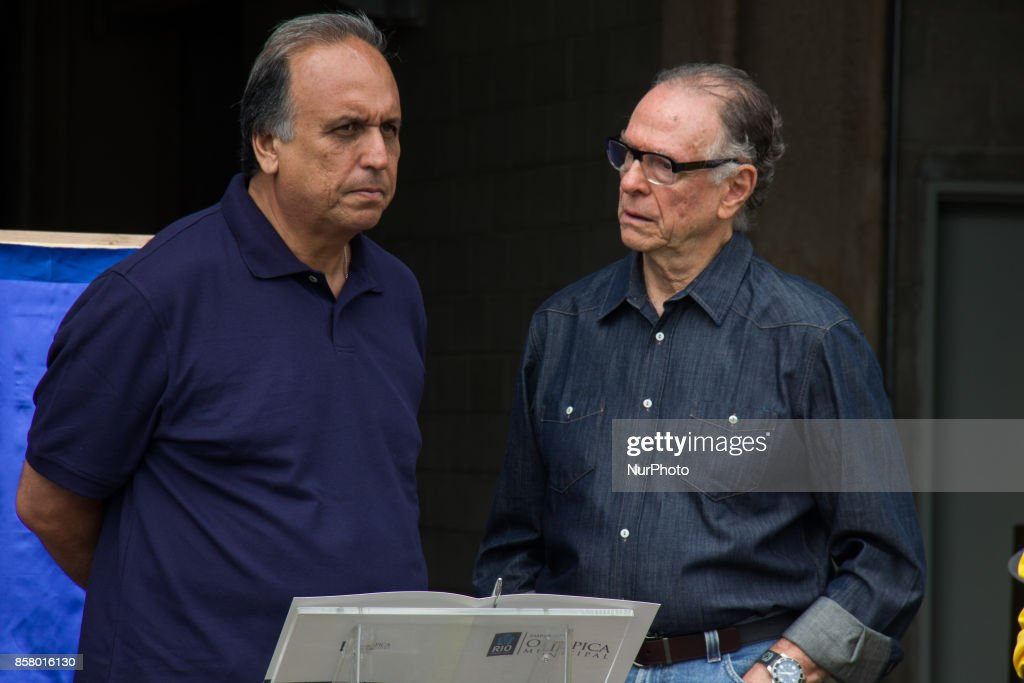 Rio de Janeiro, Brazil, on October 5, 2017: President of the Brazilian Olympic Committee, Carlos Arthur Nuzman, was arrested on Thursday morning. Nuzman is suspected of brokering the purchase of votes from members of the International Olympic Committee for the election of Rio de Janeiro as the venue for the 2016 Olympics. Leonardo Gryner, former director of operations for the Rio 2016 Committee, was also arrested. In this image: Carlos Arthur Nuzman next to the Governor of Rio de Janeiro, Luiz Fernando Pezao. Photo file produced in November 8, 2015.