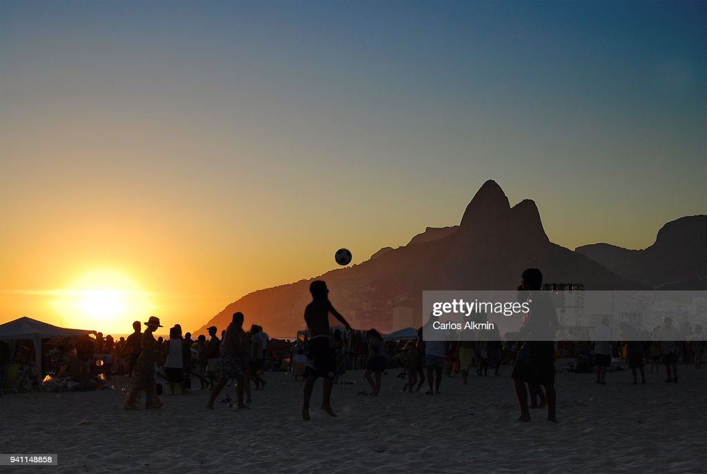 Rio de Janeiro, Brazil - Soccer at Sunset - Leblon Beach : Stock Photo