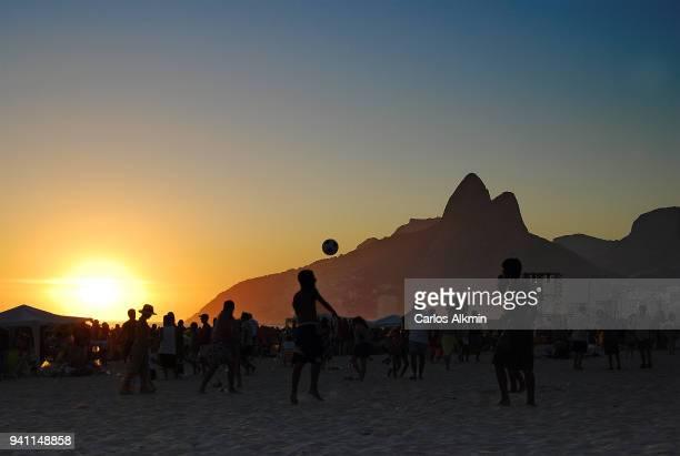 Rio de Janeiro, Brazil - Soccer at Sunset - Leblon Beach