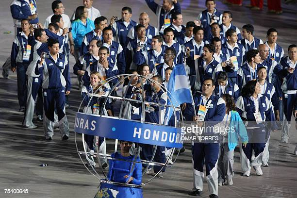 The delegation of Honduras led by judoist Luis Moran enters the Maracana Stadium in Rio de Janerio Brazil on July 13th during the inauguration...