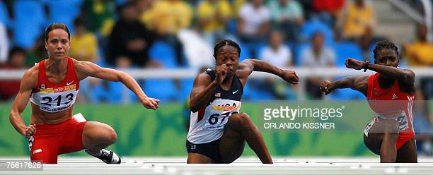 Rio de Janeiro, BRAZIL: US runner Virginia Johnson , Canadian Jessica Zelinka and Trinidad&Tobago Natoya Baird perform in the 100m hurdles semifinal...