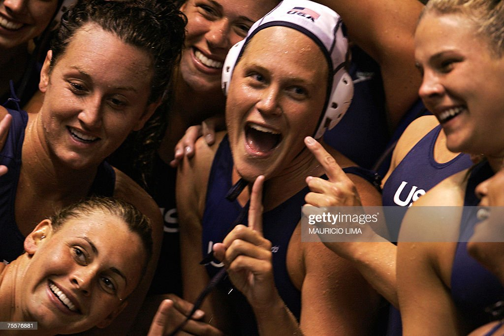 USA's water polo players celebrate their victory over Canada by 6 to 3 during the Rio 2007 Pan American Games women's water polo final match, in Rio de Janeiro, Brazil, 20 July 2007. The US won the Gold Medal, Canada the Silver Medal and Cuba the Bronze Medal. AFP PHOTO / Mauricio LIMA