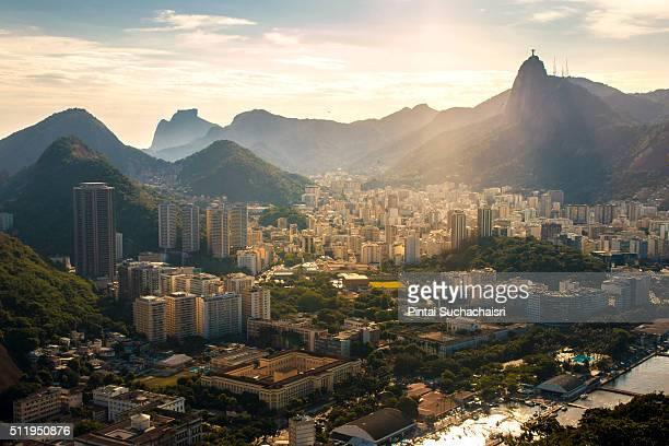 rio de janeiro city view with christ the redeemer statue - corcovado stock pictures, royalty-free photos & images