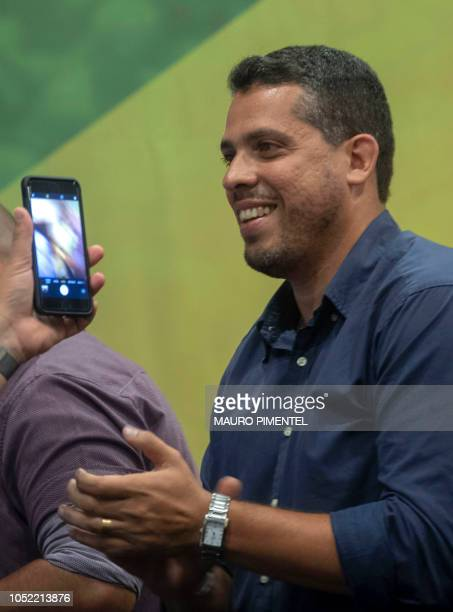 Rio de Janeiro elected State Deputy Rodrigo Amorim of the Social Liberal Party attends a press conference of the rightwing presidential candidate for...