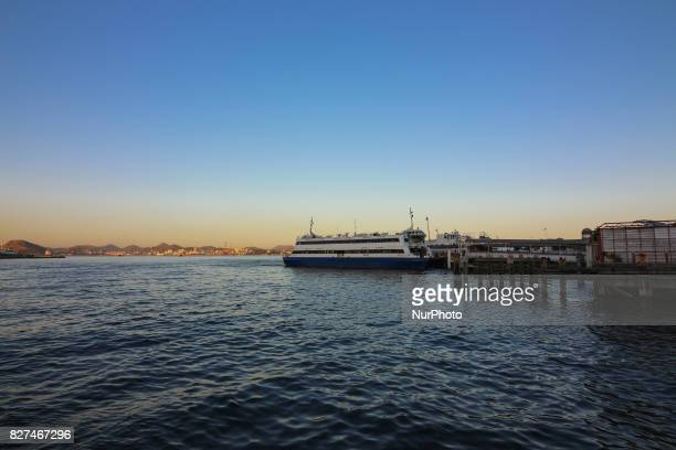 Rio de Janeiro has sunny and hot afternoon in winter In this image sunset seen from the Bay of Guanabara Downtown Rio
