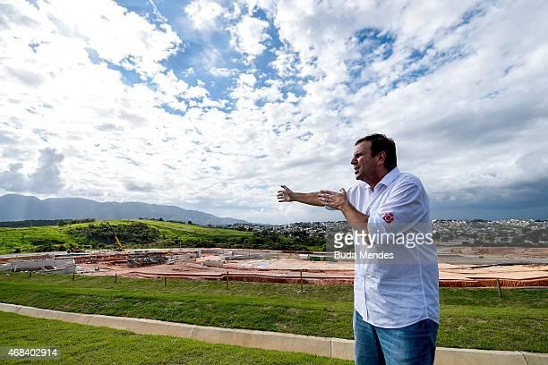 Rio de Janeiro Major Eduardo Paes gestures during a visit to the Deodoro Sports Complex in Ricardo de Albuquerque neighborhood on April 2 2015 in Rio...