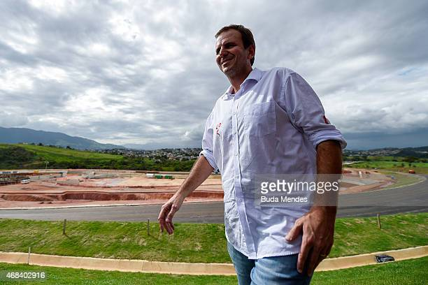 Rio de Janeiro Major Eduardo Paes looks on during a visit to the Deodoro Sports Complex in Ricardo de Albuquerque neighborhood on April 2 2015 in Rio...