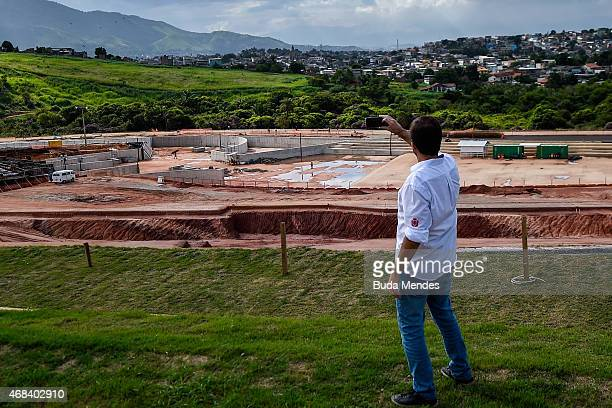 Rio de Janeiro Major Eduardo Paes takes a photo during a visit to the Deodoro Sports Complex in Ricardo de Albuquerque neighborhood on April 2 2015...