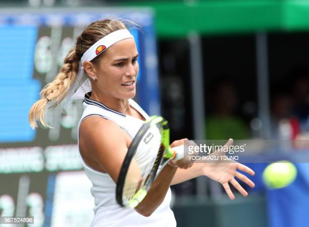 Rio de Janeiro Olympics gold medalist Monica Puig during the second round of the Toray Pan Pacific Open tennis championships in Tokyo on September 21...