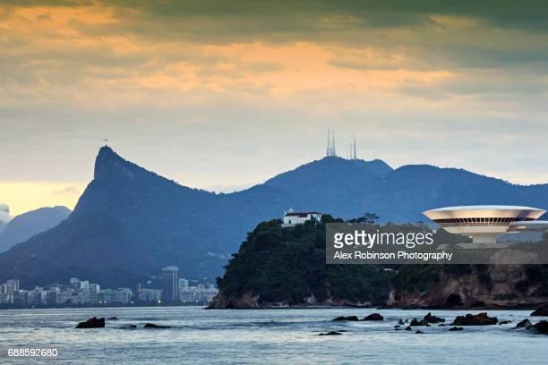 Rio de Janeiro skyline from Niteroi with Oscar Niemeyer's MAC