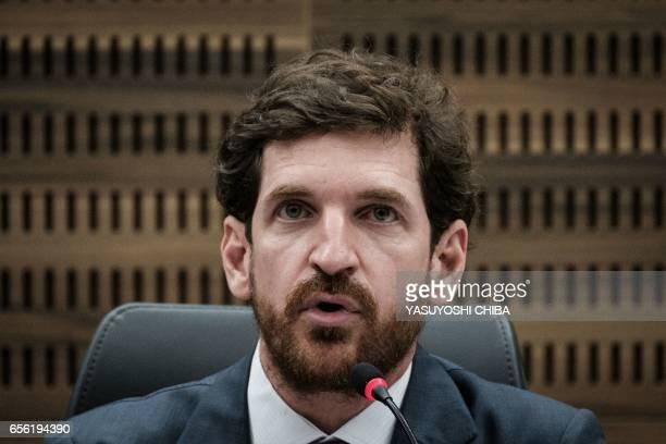 Rio de Janeiro state's Attorney General Leonardo Espindola speaks during a refund agreement ceremony at the Second Region Federal Court in Rio de...