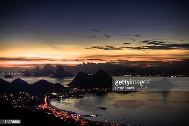 rio de janeiro sunset - niteroi stock pictures, royalty-free photos & images