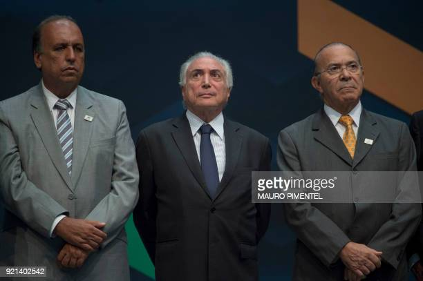 Rio de Janeiro's Governor Luiz Fernando Pezao Brazilian President Michel Temer and Brazilian Minister Chief of Staff Eliseu Padilha attend an event...
