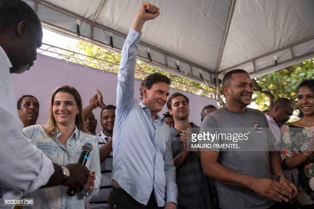 Rio de Janeiro's Mayor Marcelo Crivella attends an event of the local government at Miami square in Vila Kennedy favela Rio de Janeiro Brazil on...