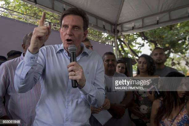 Rio de Janeiro's Mayor Marcelo Crivella speaks during an event of the local government at Miami square in Vila Kennedy favela Rio de Janeiro Brazil...
