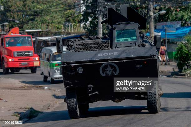 Rio de Janeiro's Military Police Special Unit carries out an operation at the Complex do Alemao favela in Rio Brazil on July 16 2018