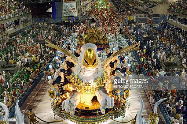 Rio de Janeiro's Sao Clemente parades along the Sambodrome 03 February 2008 in the first night of the Rio's Carnival climax The school pays tribute...