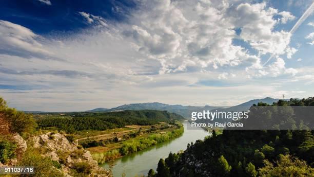 rio ebro en miravet - ebro river stock photos and pictures