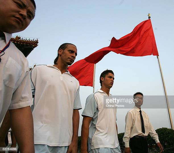 Rio Ferdinand and Cristiano Ronaldo visit the Tiananmen Gate on July 25 2005 in Beijing China Manchester United are in China's capital to play the...