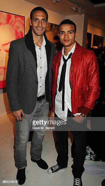 Rio Ferdinand and Jermaine Jenas attend the private view of 'Russell Young Dirty Pretty Things' at the Scream Gallery on February 4 2010 in London...