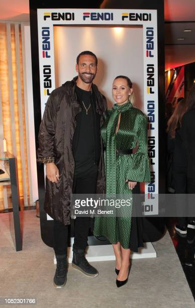 Rio Ferdinand and Kate Wright attend the FENDI MANIA Collection Launch on October 16 2018 in London England