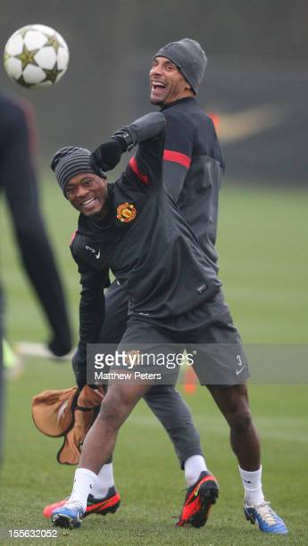 Rio Ferdinand and Patrice Evra of Manchester United in action during a first team training session, ahead of their UEFA Champions League Group H...