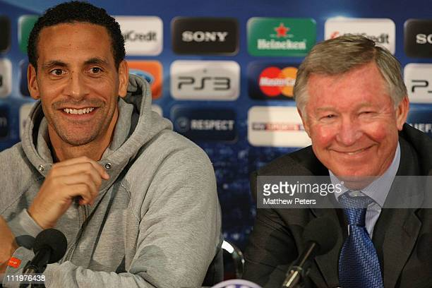 Rio Ferdinand and Sir Alex Ferguson of Manchester United speak during a press conference ahead of the UEFA Champions League Quarter-Final second leg...