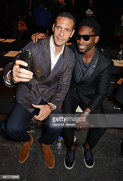 Rio Ferdinand and Tinie Tempah attend the front row at the Oliver Spencer show during London Collections Men AW15 at The Old Sorting Office on...