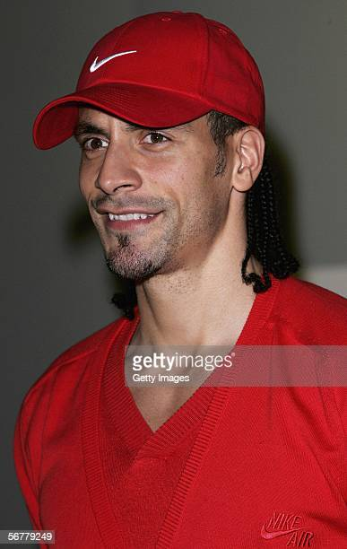 Rio Ferdinand arrives at the launch of Nike's 'Joga Bonito' at the Truman Brewery on February 7 2006 in London England Wayne Rooney Rio Ferdinand...