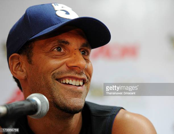 Rio Ferdinand attends a Manchester United press conference at Rajamangala Stadium on July 12 2013 in Bangkok Thailand