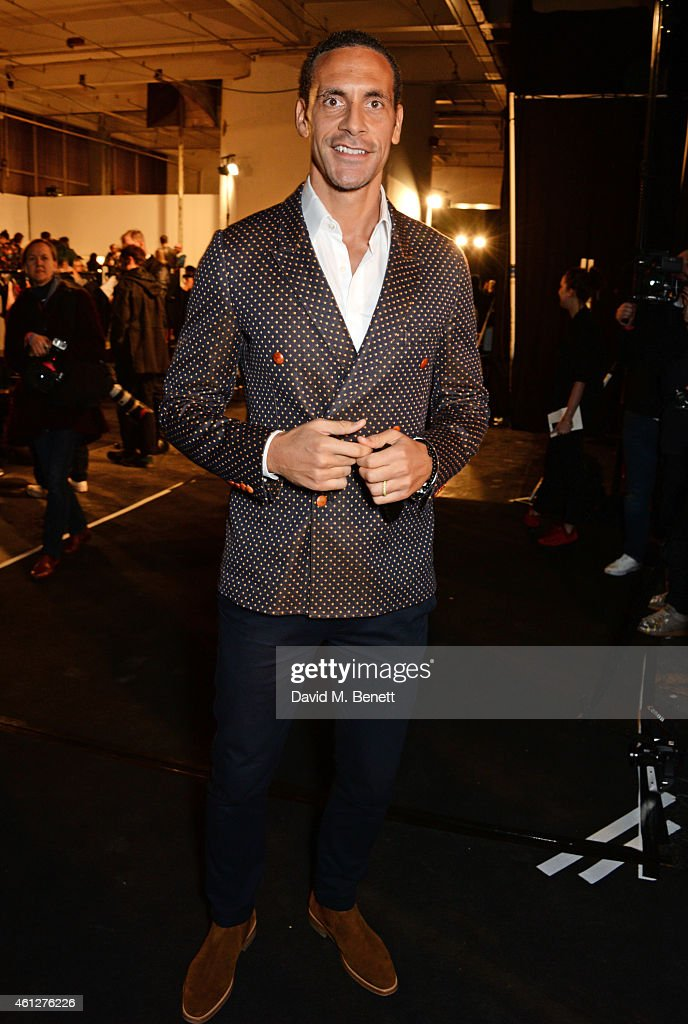 Rio Ferdinand attends the front row at the Oliver Spencer show during London Collections: Men AW15 at The Old Sorting Office on January 10, 2015 in London, England.