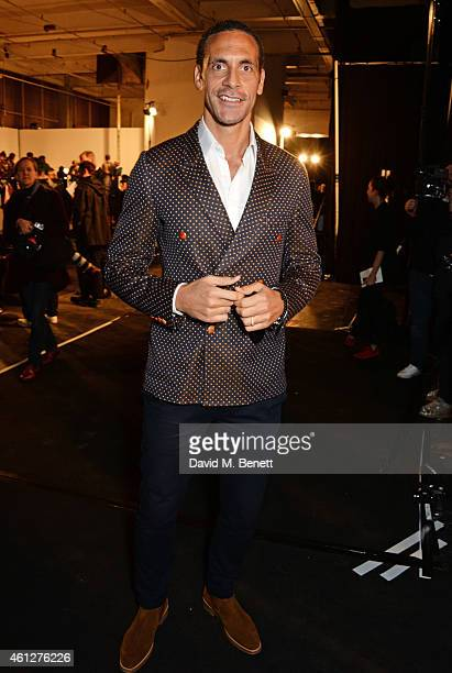 Rio Ferdinand attends the front row at the Oliver Spencer show during London Collections Men AW15 at The Old Sorting Office on January 10 2015 in...