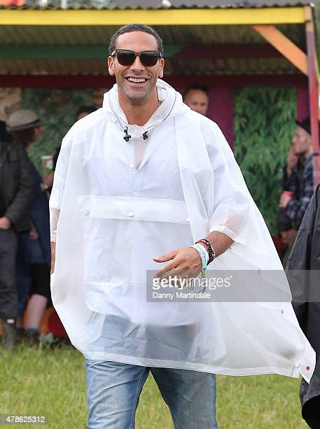 Rio Ferdinand attends the Glastonbury Festival at Worthy Farm Pilton on June 26 2015 in Glastonbury England