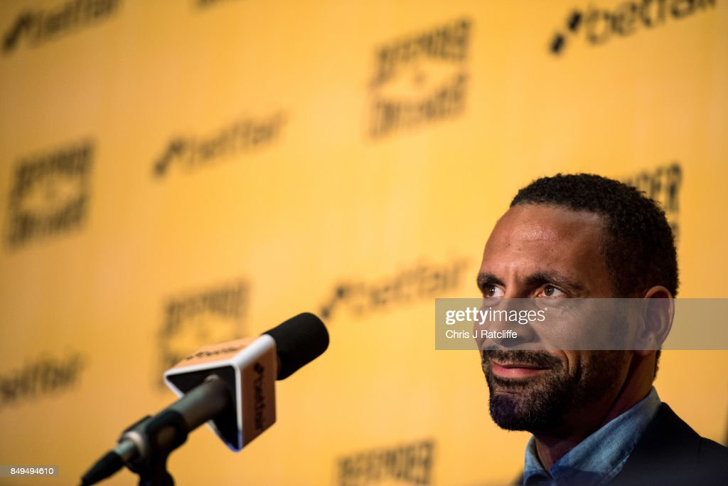 Rio Ferdinand during a press conference at The Town Hall Hotel on September 19, 2017 in London, England. Retired England international footballer Rio Ferdinand announced at the press conference that he is training to become a professional boxer. Ferdinand will fight a succession of bouts in 2017 and 2018 with the ultimate aim to box for a title belt.
