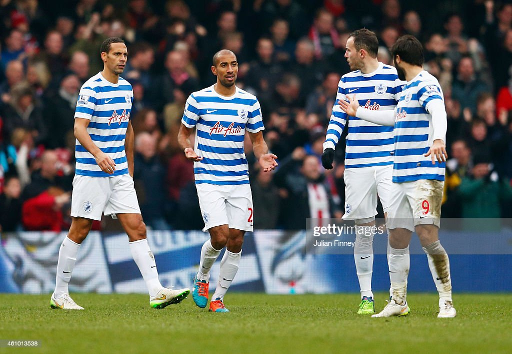 Rio Ferdinand, Karl Henry, Jordan Mutch and Charlie Austin of QPR react as Jamal Campbell-Ryce of Sheffield United (not pictured) scores their second goal during the FA Cup Third Round match between Queens Park Rangers and Sheffield United at Loftus Road on January 4, 2015 in London, England.