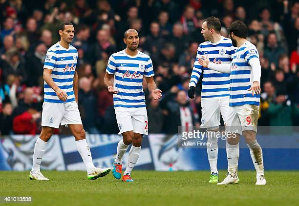 Rio Ferdinand Karl Henry Jordan Mutch and Charlie Austin of QPR react as Jamal CampbellRyce of Sheffield United scores their second goal during the...