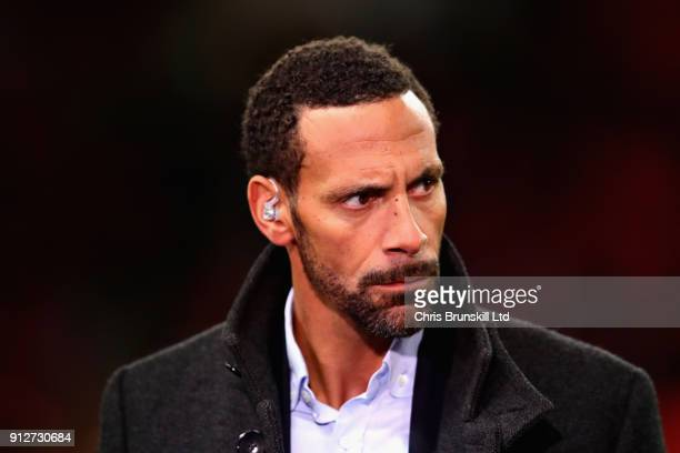 Rio Ferdinand looks on before the Premier League match between Tottenham Hotspur and Manchester United at Wembley Stadium on January 31 2018 in...