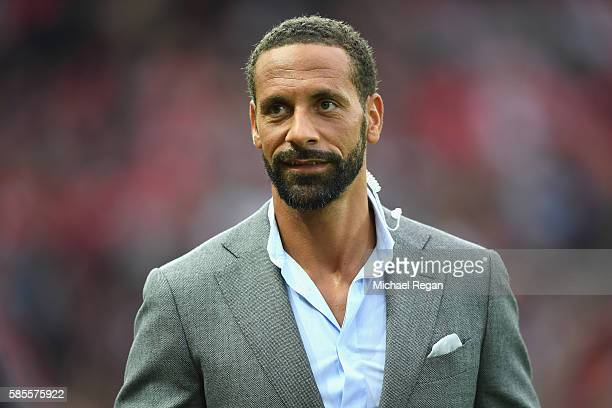 Rio Ferdinand looks on during the Wayne Rooney Testimonial match between Manchester United and Everton at Old Trafford on August 3 2016 in Manchester...