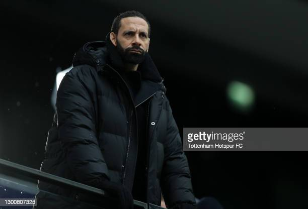 Rio Ferdinand looks on prior to the Premier League match between Tottenham Hotspur and West Bromwich Albion at Tottenham Hotspur Stadium on February...