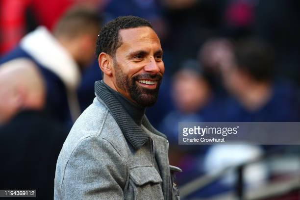 Rio Ferdinand looks on prior to the Premier League match between West Ham United and Everton FC at London Stadium on January 18 2020 in London United...