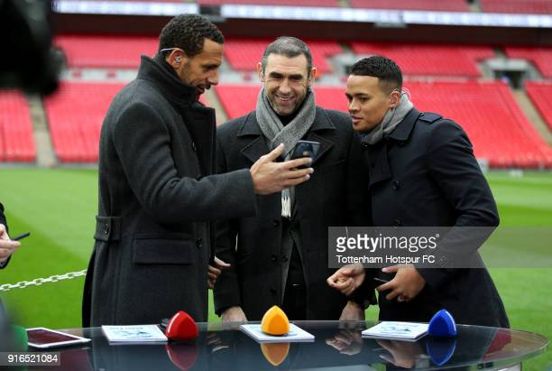 Rio Ferdinand Martin Keown and Jermaine Jenas speak prior to the Premier League match between Tottenham Hotspur and Arsenal at Wembley Stadium on...
