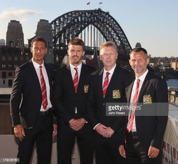 Rio Ferdinand Michael Carrick Manager David Moyes and Ryan Giggs of Manchester United pose at the Sydney Harbour Bridge as part of their preseason...