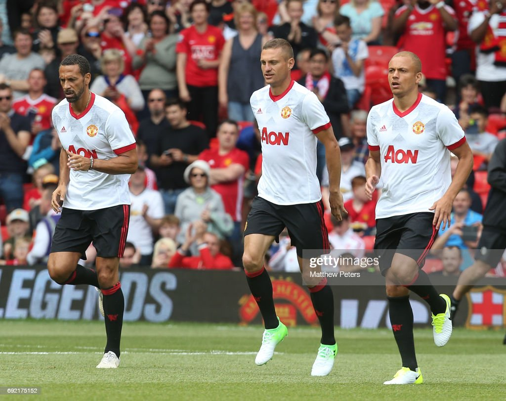 Rio Ferdinand, Nemanja Vidic and Wes Brown of Manchester United '08 XI warm up ahead of the Michael Carrick Testimonial match between Manchester United '08 XI and Michael Carrick All-Stars at Old Trafford on June 4, 2017 in Manchester, England.