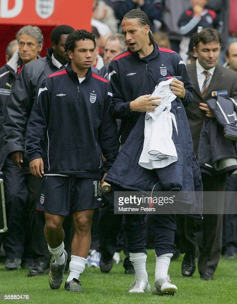 Rio Ferdinand of England walks out ahead of the World Cup qualifying match between England and Austria at Old Trafford on October 8 2005 in...